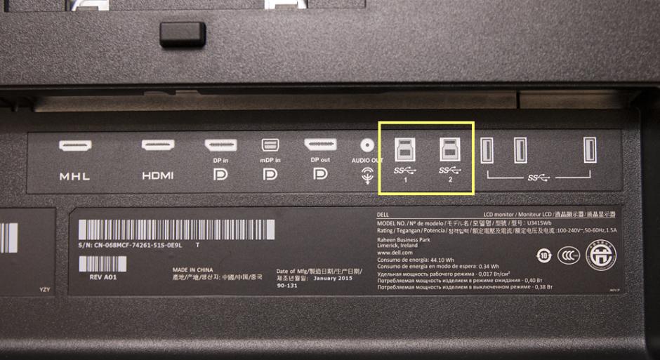 DELL U3415W USB2系統入力