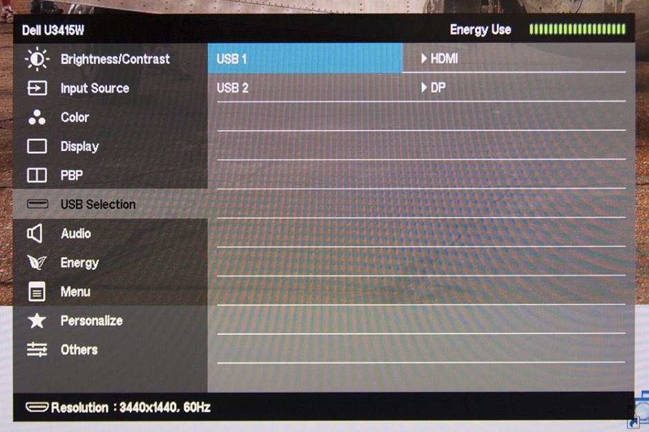 DELL U3415W USB入力切替