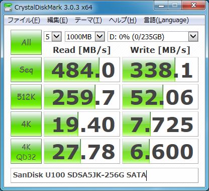 ASUS Zenbook UX31 SSDベンチマーク